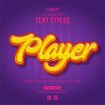 Estilo de texto do jogador