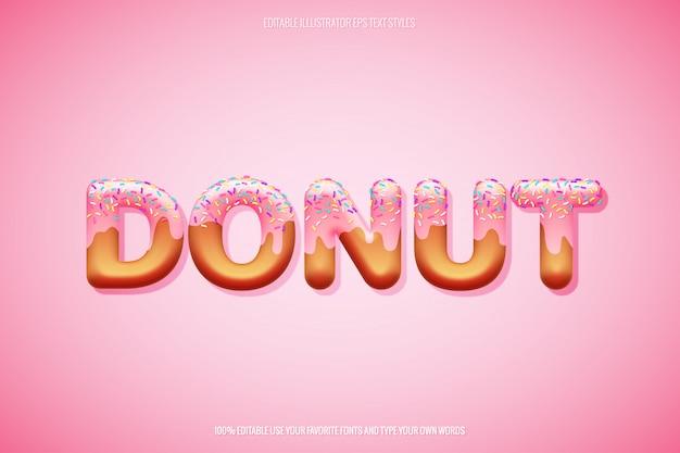 Estilo de texto donut com decoração de granulado em camadas