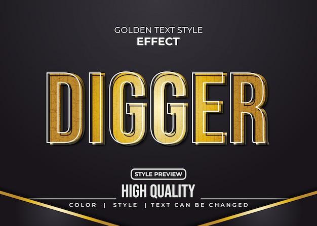 Estilo de texto dourado com textura e efeito de relevo