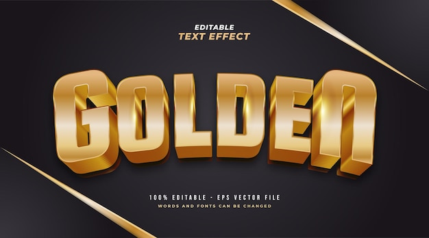 Estilo de texto dourado luxuoso com efeito 3d em relevo. efeito de estilo de texto editável