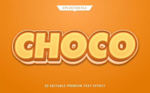 Estilo de texto editável 3d choco marrom efeito vetor premium
