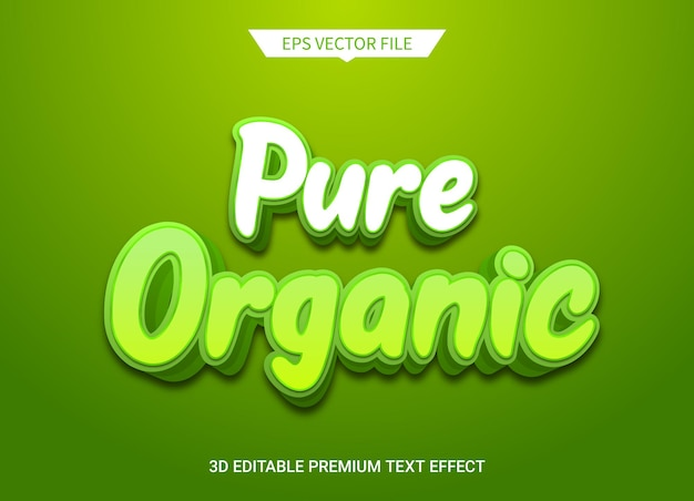 Estilo de texto editável 3d orgânico puro efeito vetor premium
