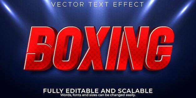Estilo de texto editável com efeito de texto esportivo de boxe e vermelho