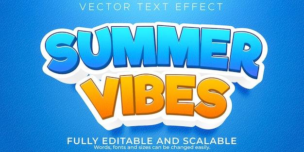 Estilo de texto editável de efeito de texto de vibrações de verão na praia e no sol