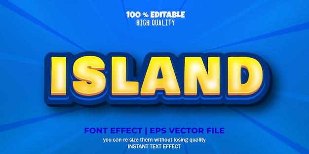 Estilo de texto editável de efeito de texto ilha