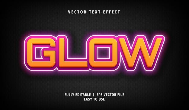 Estilo de texto editável de efeito de texto neon glow