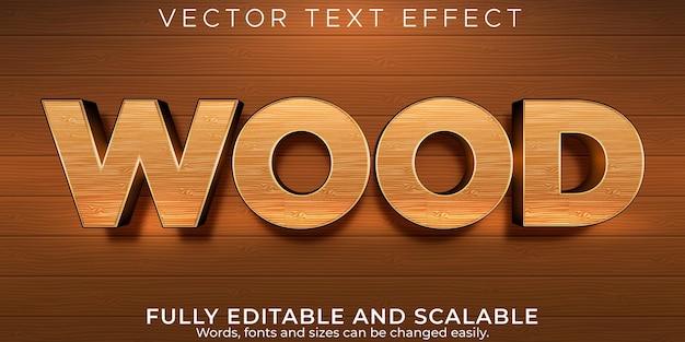 Estilo de texto editável do lenhador e lenhador com efeito de texto de madeira