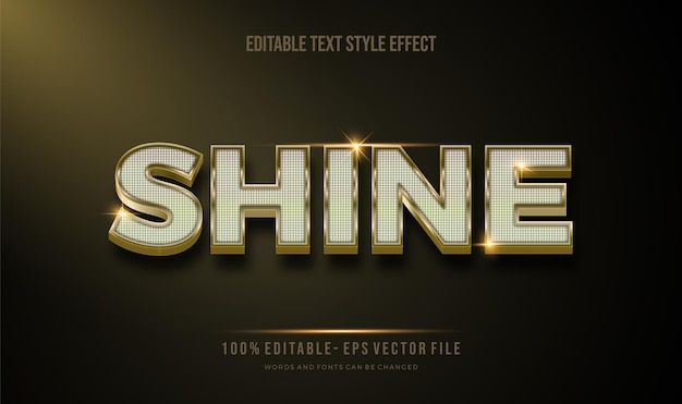 Estilo de texto editável moderno efeito dourado e brilho brilhante. estilo de fonte editável.