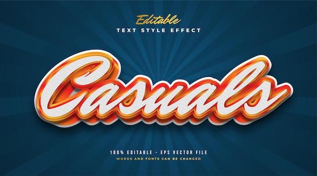Estilo de texto elegante em branco e laranja com efeito em relevo. efeito de estilo de texto editável