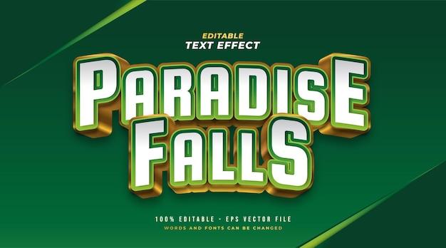 Estilo de texto elegante em branco, verde e dourado com efeito 3d. efeito de estilo de texto editável