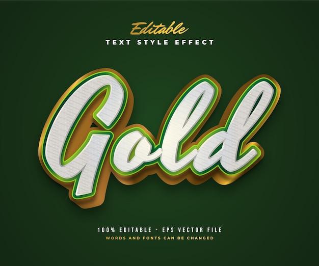 Estilo de texto elegante em branco, verde e dourado com efeito em relevo e texturizado. efeito de estilo de texto editável
