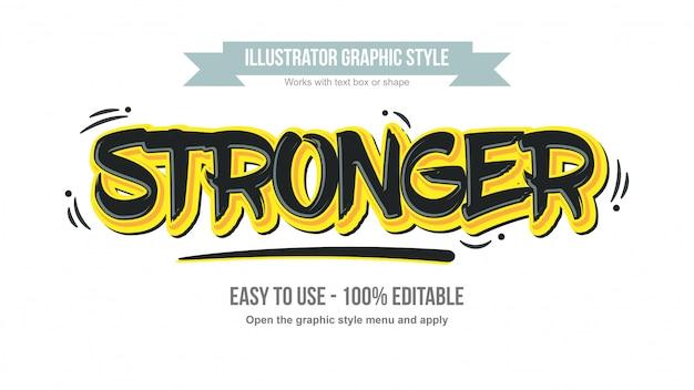 Estilo de texto em grafite editável em preto e amarelo
