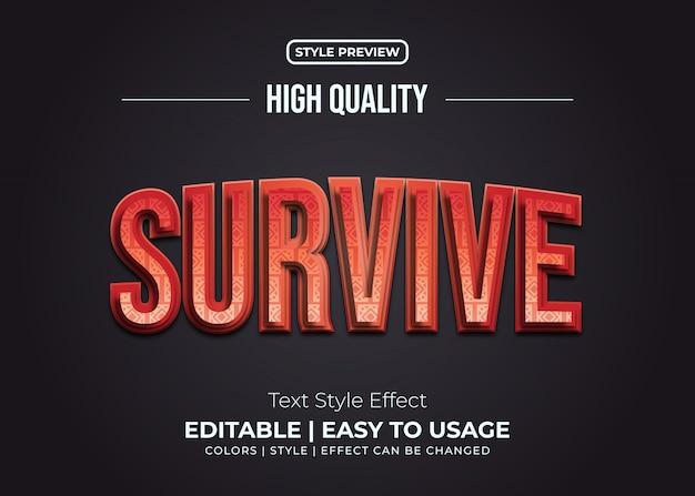 Estilo de texto em negrito 3d com efeito gradiente e textura vermelho