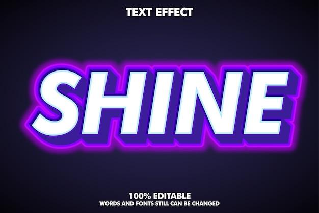 Estilo de texto em negrito com efeito de luz neon