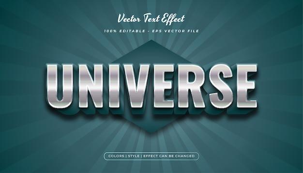 Estilo de texto em negrito metálico 3d com efeito em relevo no conceito de azul e metal
