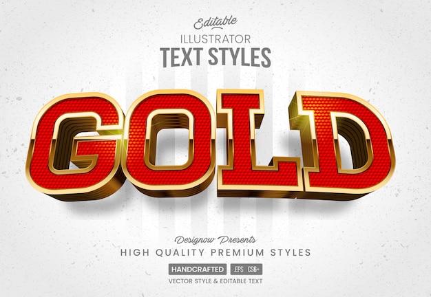 Estilo de texto em ouro vermelho