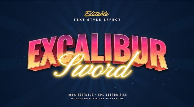 Estilo de texto excalibur brilhante em efeito colorido e neon. efeito de estilo de texto editável