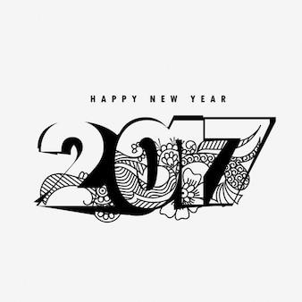 Estilo de texto feliz ano novo 2017, com a arte abstrata do doodle
