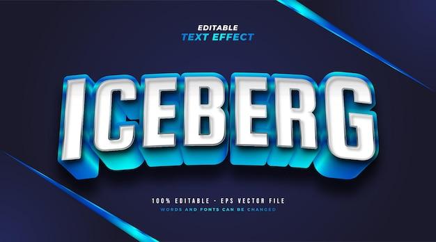 Estilo de texto iceberg azul com efeito 3d em relevo. efeito de estilo de texto editável