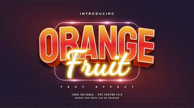 Estilo de texto laranja em negrito e efeito de néon brilhante