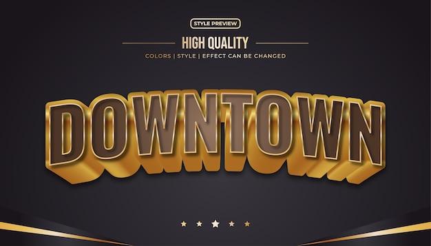 Estilo de texto luxuoso com efeito em relevo e curvado em marrom e dourado. efeito de estilo de texto editável