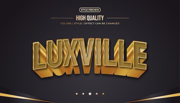 Estilo de texto luxuoso com efeito em relevo e curvado no conceito marrom e dourado. editável