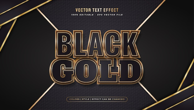 Estilo de texto luxuoso em preto e dourado com efeito brilhante