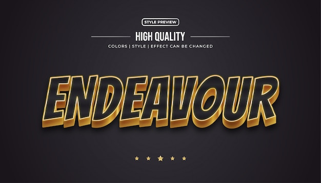 Estilo de texto luxuoso em preto e dourado com efeitos em relevo