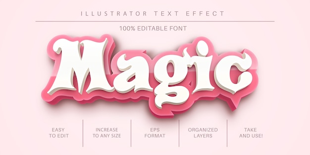 Estilo de texto mágico 3d, efeito de fonte