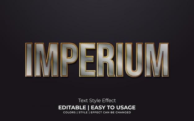 Estilo de texto metálico 3d com bordas douradas
