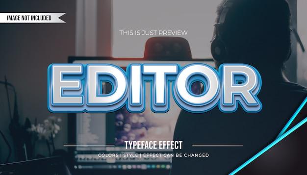 Estilo de texto metálico em negrito com linhas azuis e efeito de relevo