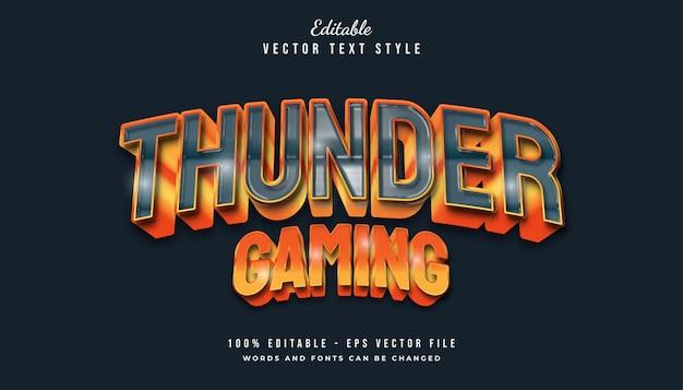 Estilo de texto para jogos thunder com efeito em relevo e curvado