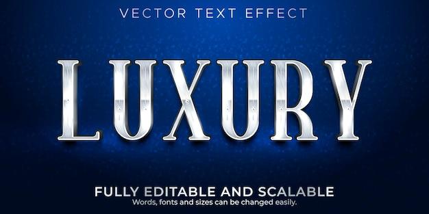 Estilo de texto prata luxuoso com efeito de texto editável