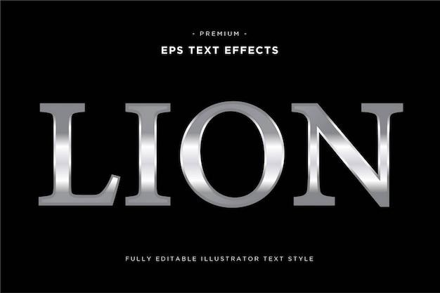 Estilo de texto prateado leão - efeito de texto prateado