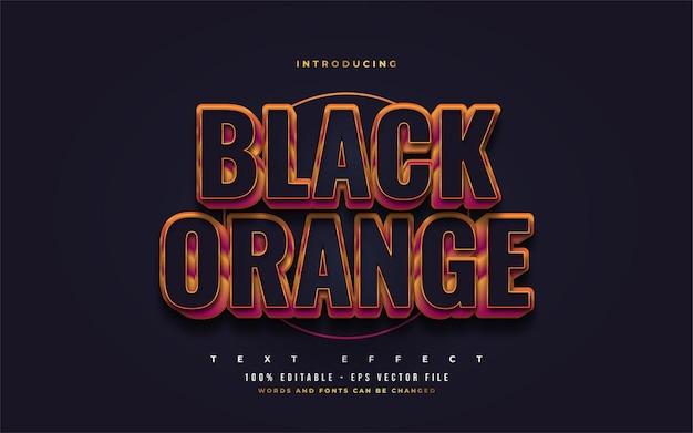 Estilo de texto preto e laranja em negrito com efeito 3d em relevo. efeitos de estilo de texto editáveis