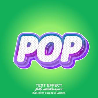 Estilo de texto realista pop art 3d