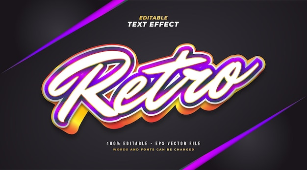Estilo de texto retro colorido com efeito 3d em relevo. efeito de texto editável
