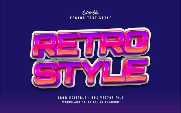 Estilo de texto retro colorido com efeito em relevo. efeito de estilo de texto editável