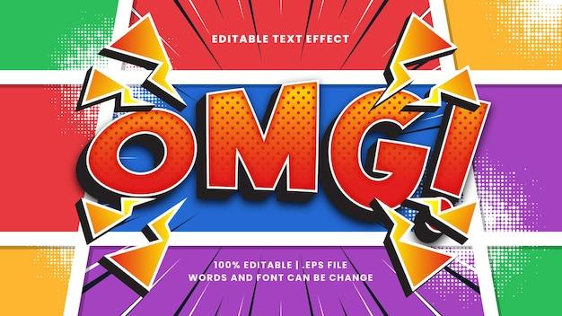 Estilo de texto retro e vintage editável com efeito de texto em quadrinhos omg