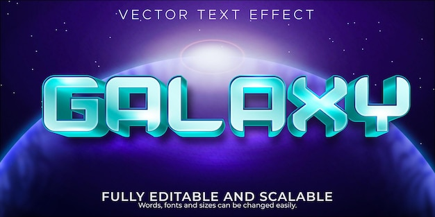 Estilo de texto retro e vintage editável com efeito de texto galaxy