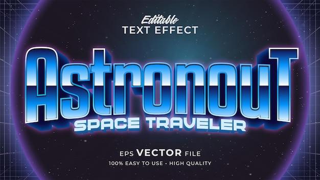 Estilo de texto retro futurista editável com efeito de texto do jogo espacial Vetor Premium