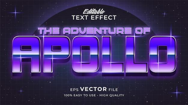 Estilo de texto retro futurista editável com efeito de texto do jogo espacial