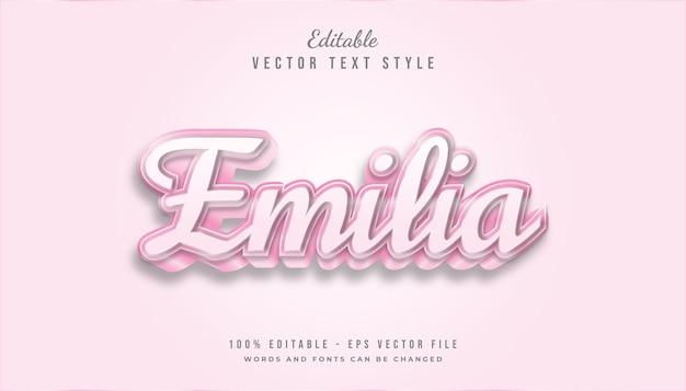 Estilo de texto rosa bonito com efeito em relevo