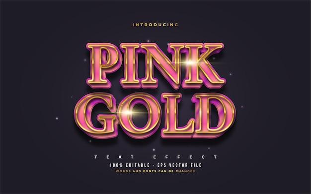 Estilo de texto rosa e dourado de luxo com efeito em relevo realista. efeitos de estilo de texto editáveis
