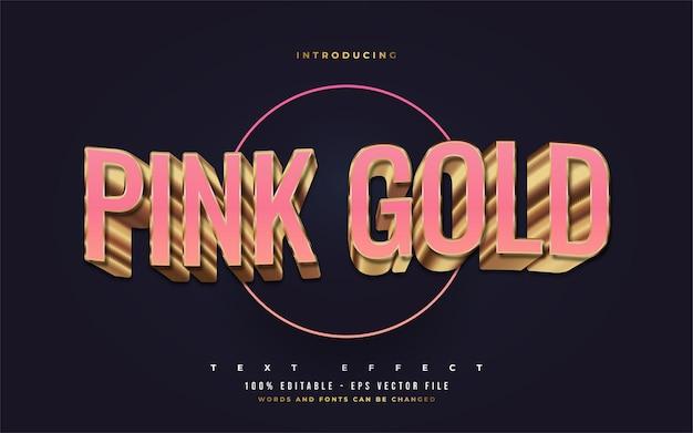 Estilo de texto rosa e dourado luxuoso com efeito 3d em relevo. efeitos de estilo de texto editáveis
