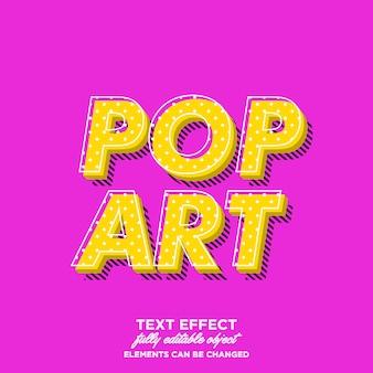 Estilo de texto simples pop art com sombra de padrão de linha