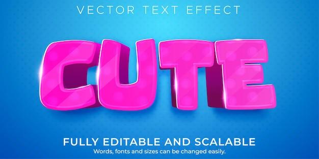 Estilo de texto suave e leve editável com efeito de texto rosa bonito