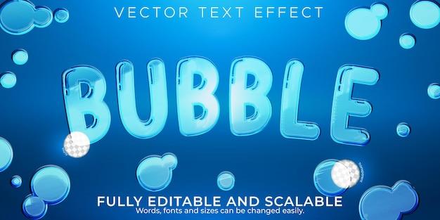 Estilo de texto transparente editável com efeito de texto de bolha de água