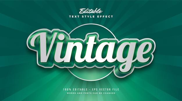 Estilo de texto vintage branco e verde com efeito 3d e em relevo. efeito de estilo de texto editável
