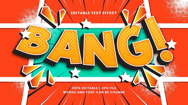 Estilo de texto vintage e retro editável com efeito de texto bang comic